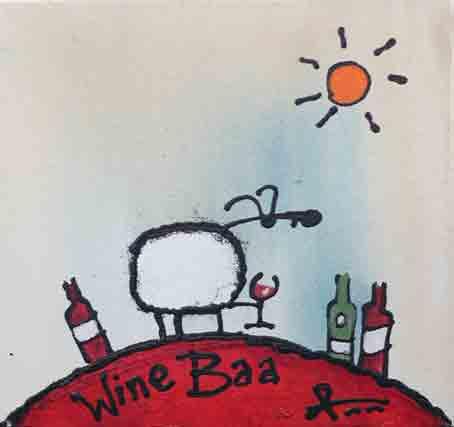 wine baa painting by ann gadd