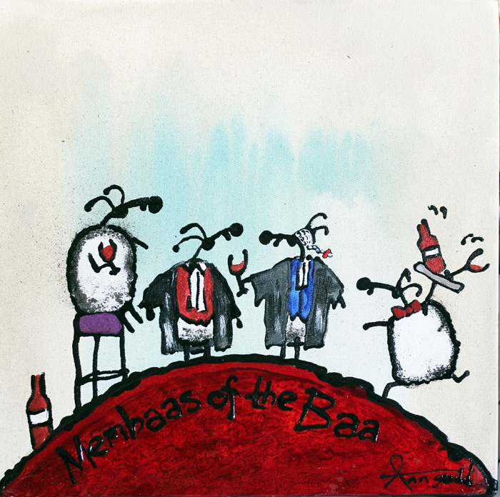 Membaas of the Baa - painting by artist Ann Gadd from her quirky 'Ewe' series. Great gift for the legal profession.